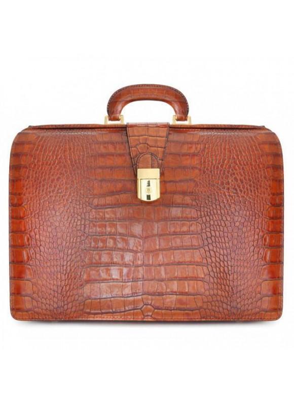 Pratesi Leonardo King Briefcase in cow leather - King Cognac
