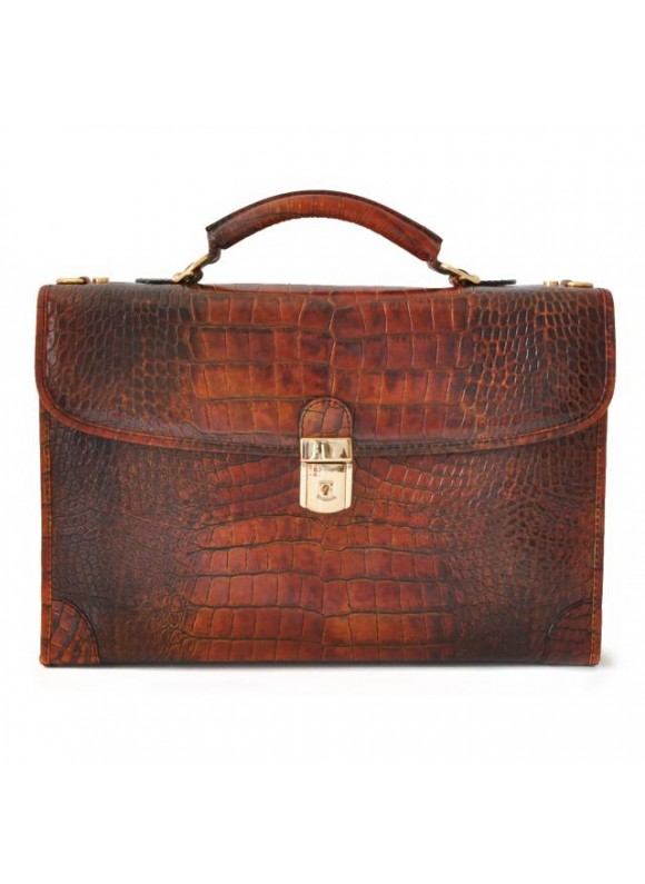 Pratesi Leccio King Briefcase in cow leather - King Cognac