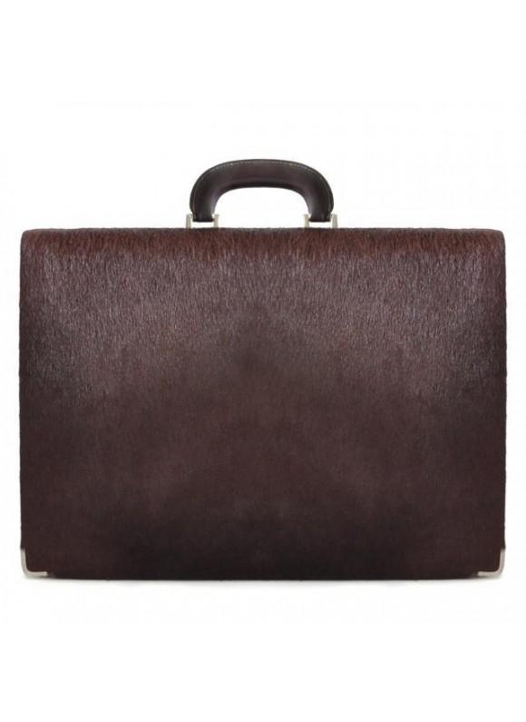 Pratesi Machiavelli/7 Cavallino Briefcase 24H in real leather - Cavallino Coffee