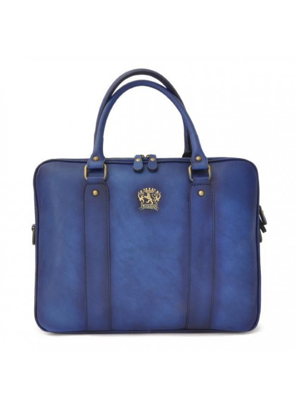 Pratesi Briefcase Magliano in cow leather - Bruce Blue
