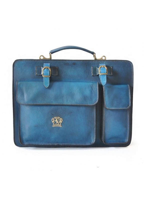 Pratesi Business Bag Milano Small in cow leather - Bruce Blue