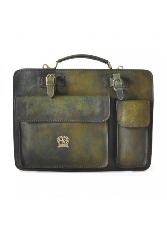 Pratesi Business Bag Milano Big in cow leather - Bruce Dark Green