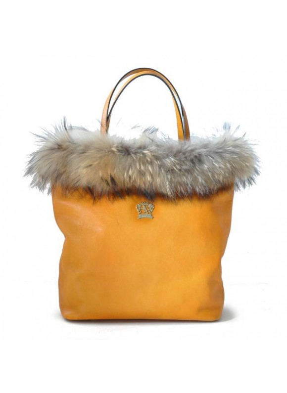 Pratesi Monterchi Tote Bag in cow leather and fur - Bruce Mustard
