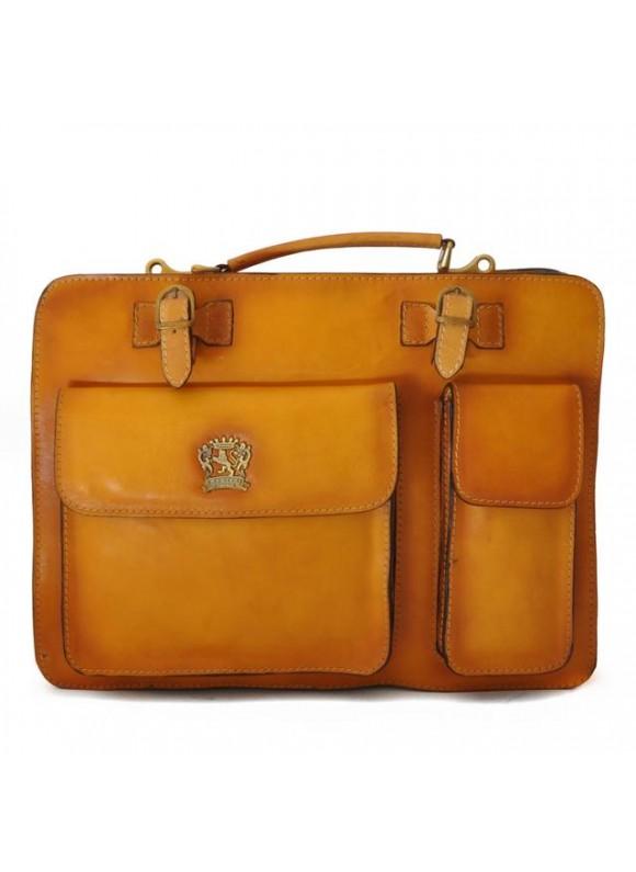 Pratesi Business Bag Milano Big in cow leather - Bruce Mustard