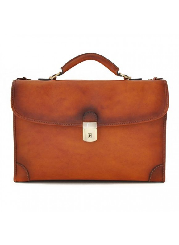 Pratesi Briefcase Leccio in cow leather - Bruce Cognac
