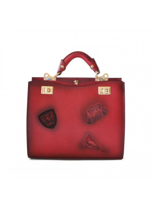 'Pratesi Lady Bag Anna Maria Luisa de'' Medici Medium in cow leather - Bruce Cherry'
