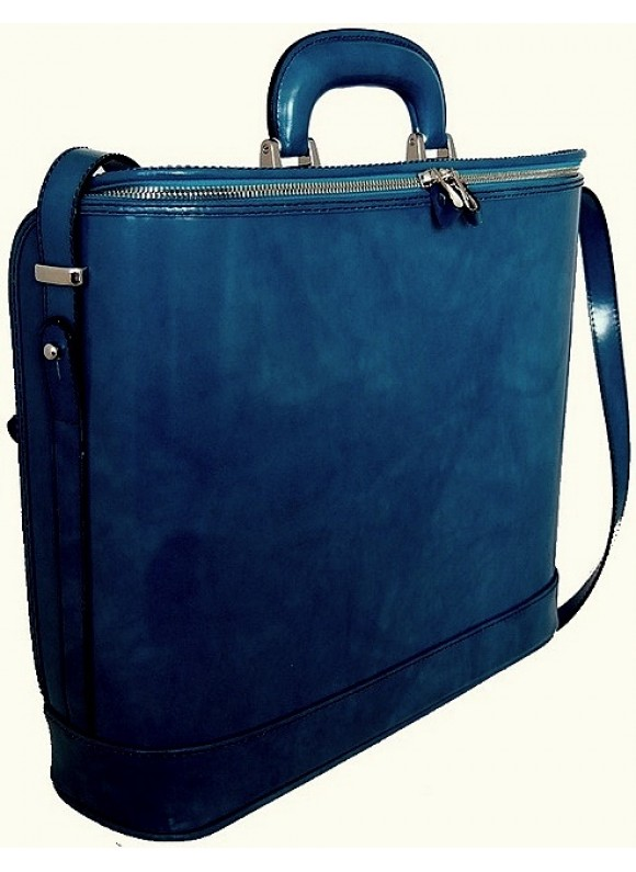 Pratesi Raffaello Laptop Bag 17 in cow leather - Radica Blue