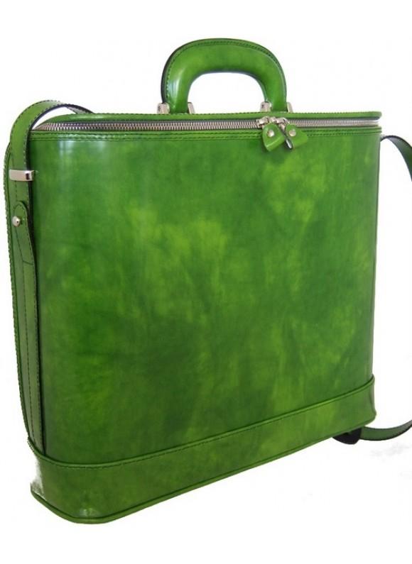 Pratesi Raffaello Laptop Bag 17 in cow leather - Radica Green