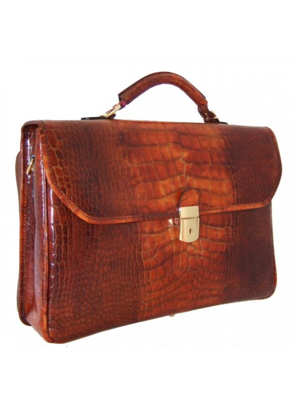 Pratesi Piccolomini King Briefcase in cow leather - King Cognac