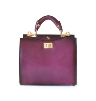 'Pratesi Anna Maria Luisa de'' Medici Small Santa Croce Lady Bag in real leather - Santa Croce Violet'