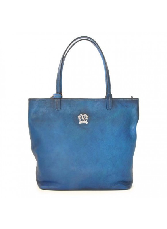 Pratesi Monterchi Tote Bag in cow leather - Bruce Blue