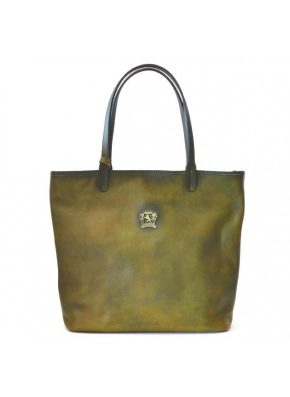 Pratesi Monterchi Tote Bag in cow leather - Bruce Dark Green