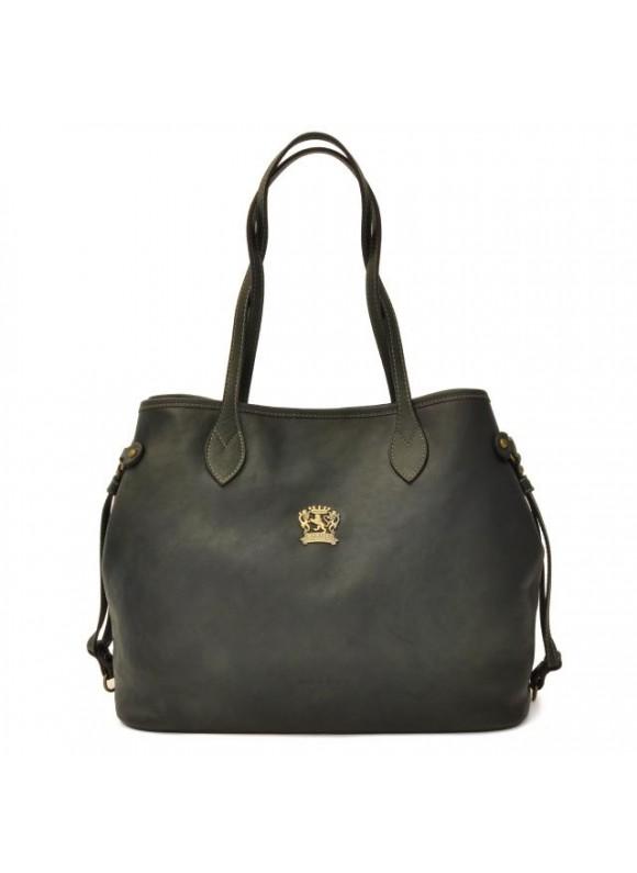 Pratesi Vetulonia Shoulder Bag in cow leather - Bruce Dark Green