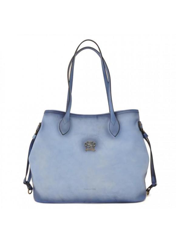 Pratesi Vetulonia Shoulder Bag in cow leather - Bruce Sky Blue