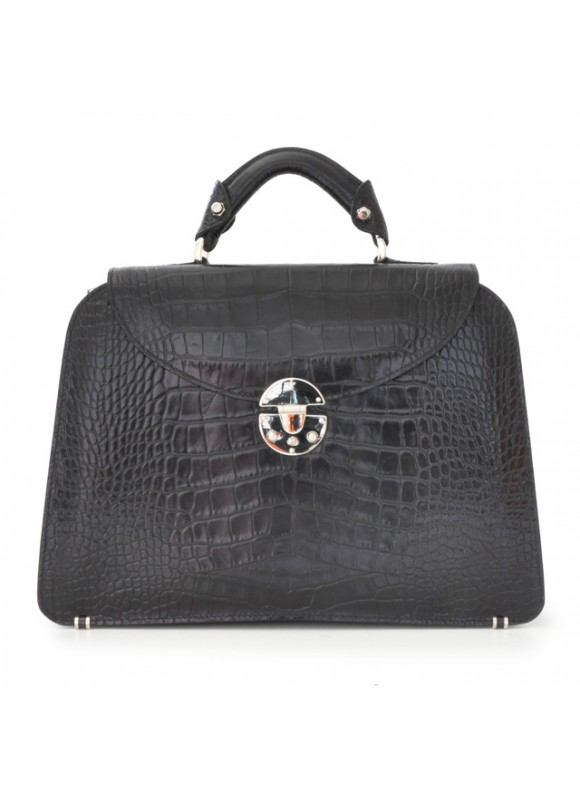 Pratesi Veneziano Big King Handbag in cow leather - King Black