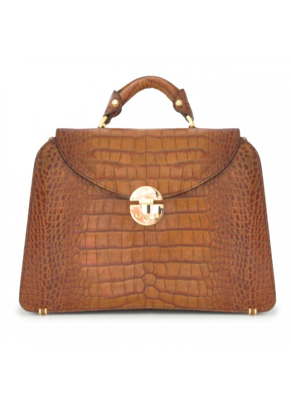 Pratesi Veneziano Big King Handbag in cow leather - King Cognac