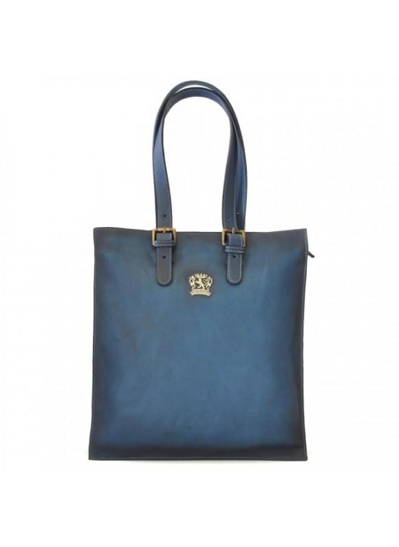 Pratesi Tote Bag Bibbiena in cow leather - Bruce Blue