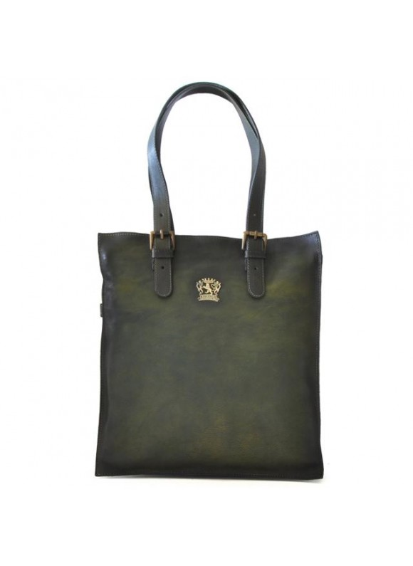 Pratesi Tote Bag Bibbiena in cow leather - Bruce Dark Green