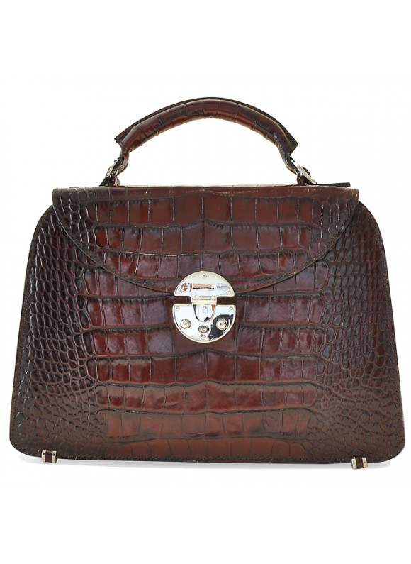 Pratesi Veneziano Small King Handbag in cow leather - King Brown
