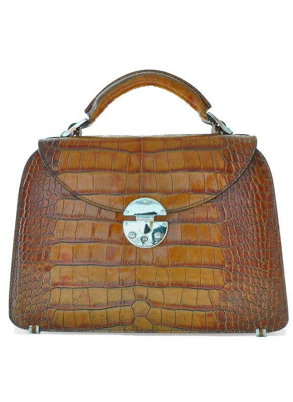 Pratesi Veneziano Small King Handbag in cow leather - King Cognac