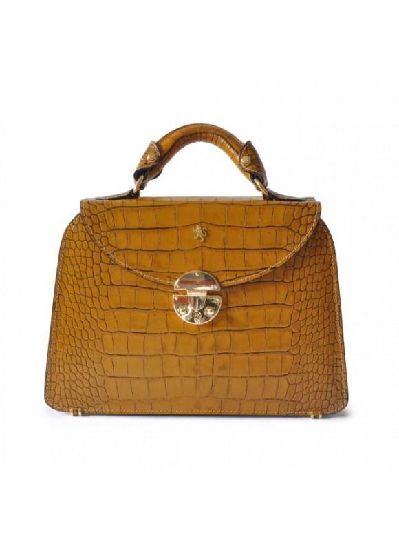 Pratesi Veneziano Small King Handbag in cow leather - King Mustard