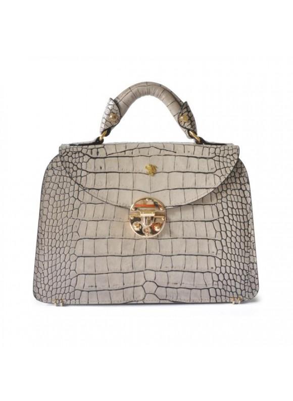 Pratesi Veneziano Small King Handbag in cow leather - King White